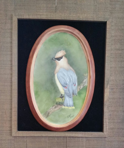 Cedar Waxwing Hand Painted Porcelain Plaque