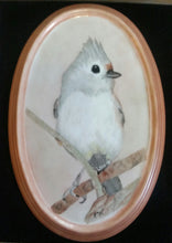 Load image into Gallery viewer, Adorable Tufted Titmouse Hand Painted Porcelain Plaque