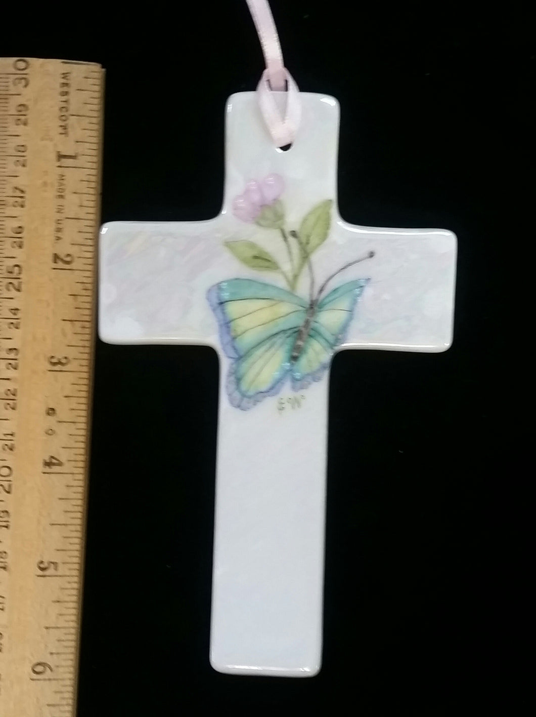 Hand Painted 6 Inch Porcelain Cross