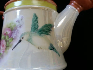 Beautiful Hand Painted Porcelain Plant Watering Can with a Hummingbird, Butterflies  and a Roses