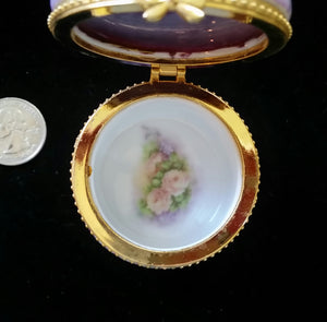 Hand Painted Porcelain Round Trinket Boxes