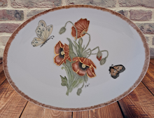Load image into Gallery viewer, Hand Painted Serving Platter with Poppies and Butterflies