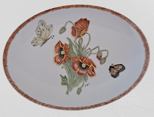 Hand Painted Serving Platter with Poppies and Butterflies
