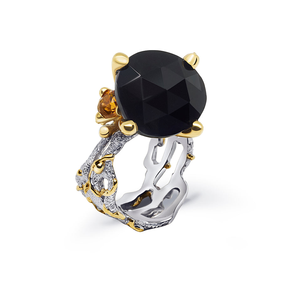 Кольцо «Passionate Embrace Black Spinel & Citrine»