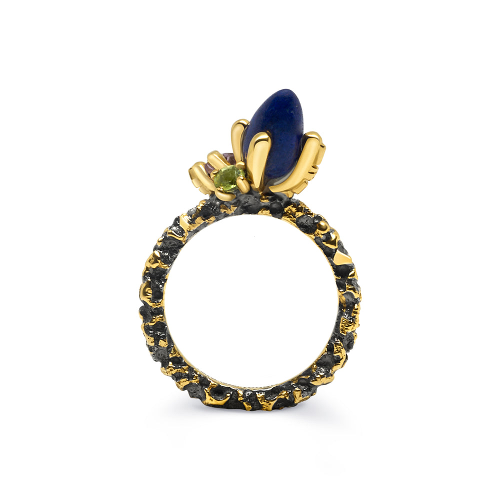 Gold Plated and Black Rhodium Stackable Lapis Lazuli, Amethyst and Green Sapphire Sterling Silver Ring
