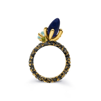 Gold Plated and Black Rhodium Stackable Lapis Lazuli, Topaz and Peridot Sterling Silver Ring