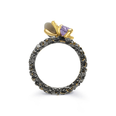 Gold Plated and Black Rhodium Stackable Rauch Topaz, Amethyst and Peridot Sterling Silver Ring