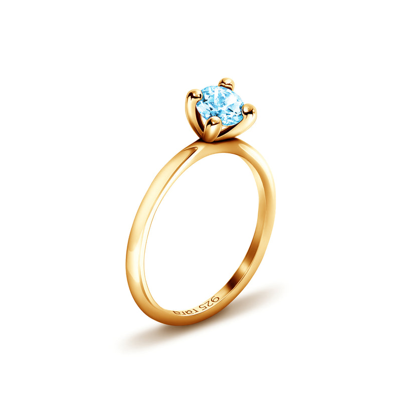 Plain Topaz Sterling Silver Stackable Ring in Gold Plate | rara