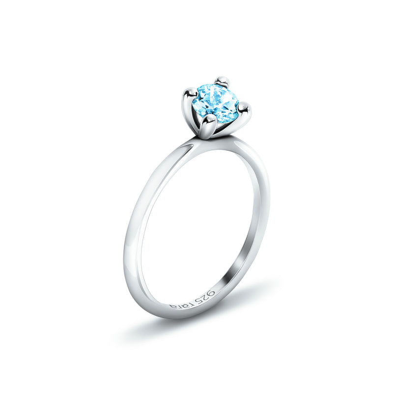 Plain Topaz Sterling Silver Stackable Ring in White Rhodium | rara
