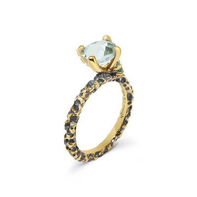 Gold Plated and Black Rhodium Stackable Topaz and Emerald Sterling Silver Ring