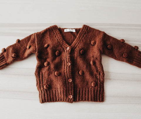 The Brown Pom Pom Cardigan