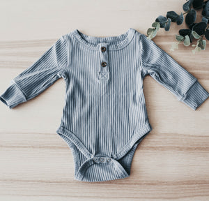 The Blue Ribbed Bodysuit