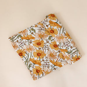 Bamboo Swaddle – Mustard Daisy Flower