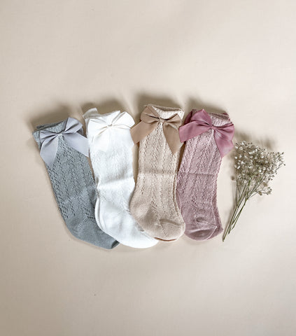 Knee High Lacey Bow Socks