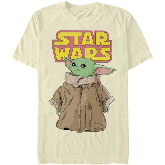 A men's graphic tee with Star Wars The Mandalorian character baby yoda on the front.