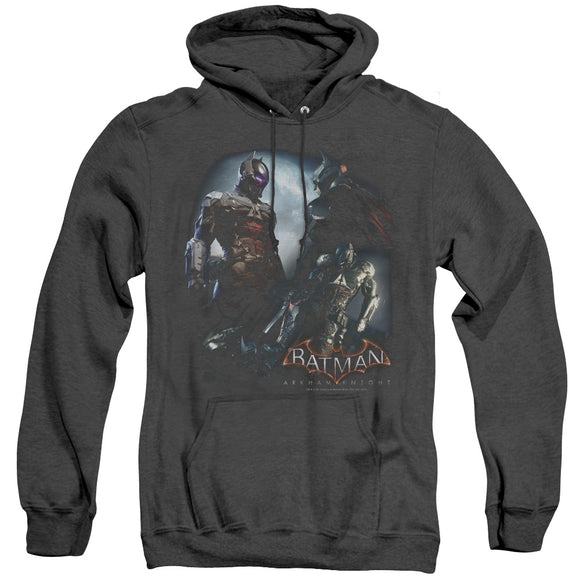 MEN'S BATMAN ARKHAM KNIGHT FACE OFF HEATHER PULLOVER HOODIE