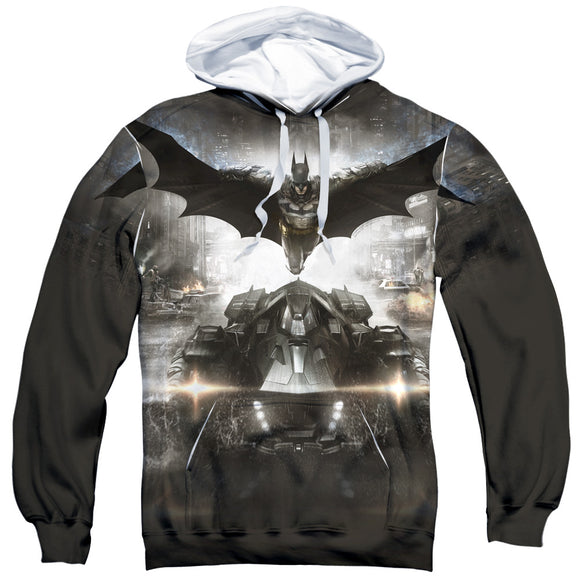MEN'S BATMAN ARKHAM KNIGHT POSTER SUBLIMATED PULLOVER HOODIE