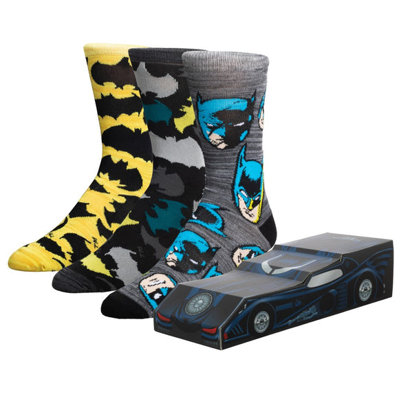 MEN'S BATMAN BAT MOBILE 3 PACK CREW SOCKS BOX SET