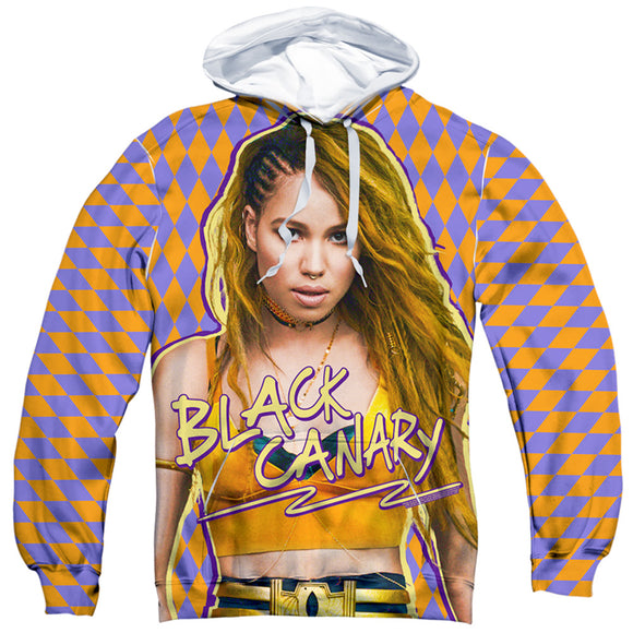 MEN'S BIRDS OF PREY BLACK CANARY SUBLIMATED PULLOVER HOODIE