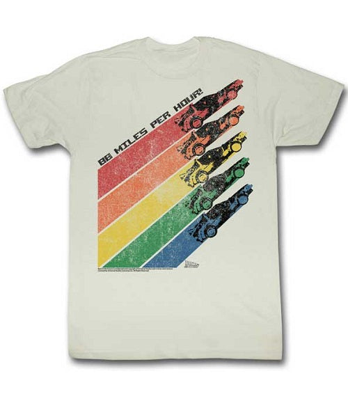 MEN'S BACK TO THE FUTURE RAINBOW DELOREAN TEE - Blue Culture Tees