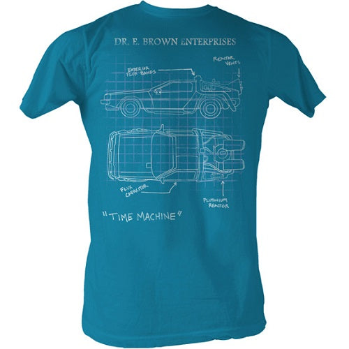 MEN'S BACK TO THE FUTURE DELOREAN SCHEMATIC LIGHTWEIGHT TEE - Blue Culture Tees