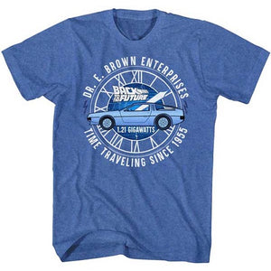 MEN'S BACK TO THE FUTURE DR E BROWN ENTERPRISES LIGHTWEIGHT TEE - Blue Culture Tees
