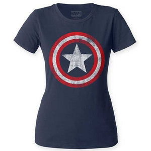 WOMEN'S CAPTAIN AMERICA DISTRESSED SHIELD CREW - Blue Culture Tees