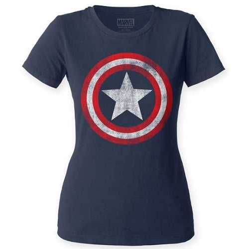 JUNIORS CAPTAIN AMERICA DISTRESSED SHIELD CREW - Blue Culture Tees