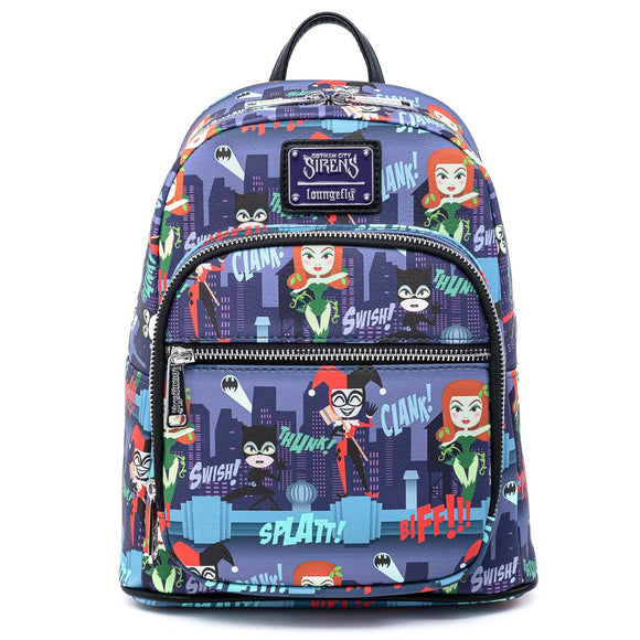 LOUNGEFLY DC COMICS LADIES OF DC AOP MINI BACKPACK - PREORDER