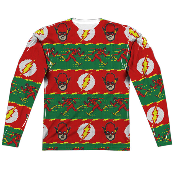 MEN'S DC THE FLASH UGLY SWEATER SUBLIMATED LONG SLEEVE TEE