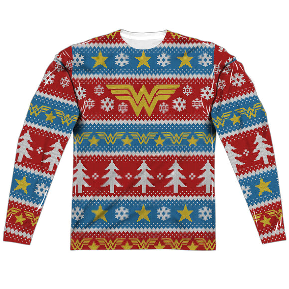 MEN'S DC WONDER WOMAN HOLIDAY SUBLIMATED LONG SLEEVE TEE