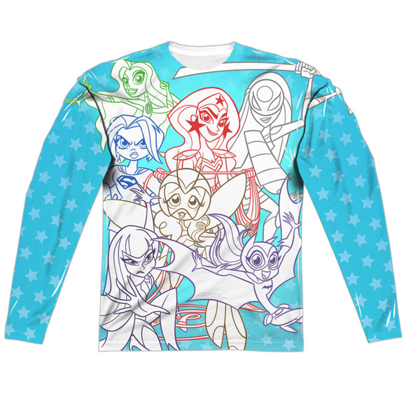 MEN'S DC SUPERHERO GIRLS JUSTICE GANG SUBLIMATED LONG SLEEVE TEE