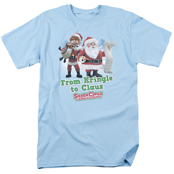 MEN'S SANTA CLAUS IS COMING TO TOWN KRINGLE TO CLAUS TEE