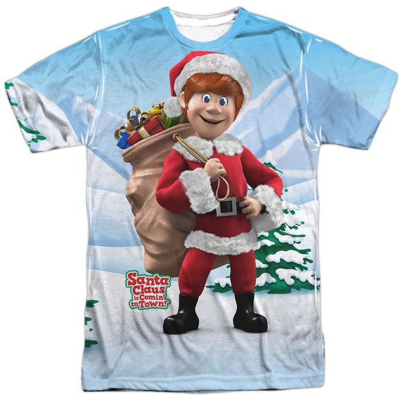 MEN'S SANTA CLAUS IS COMING TO TOWN HELPERS SUBLIMATED TEE