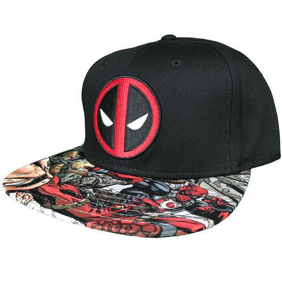 Marvel Deadpool Snapback Hat with Sublimation Print Flat Bill - Blue Culture Tees