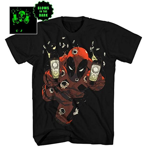 MEN'S DEADPOOL EMPTY CLIPS GLOW-IN-THE-DARK TEE - Blue Culture Tees