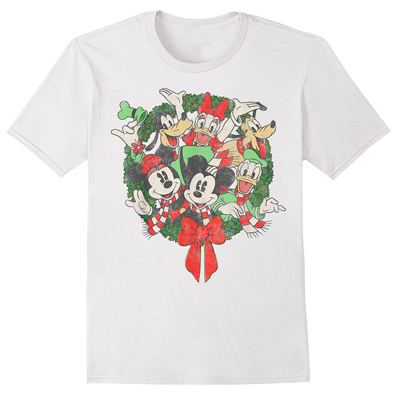 Men's Disney Group Shot Christmas Wreath Tee