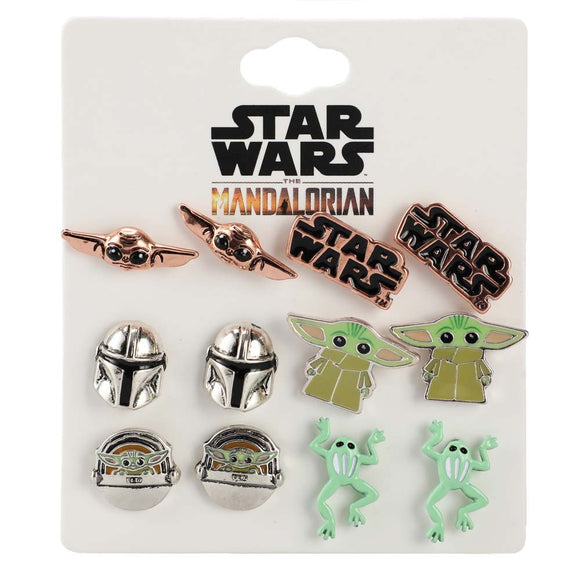 Star Wars The Mandalorian Grogu 6PC Stud Earrings Set
