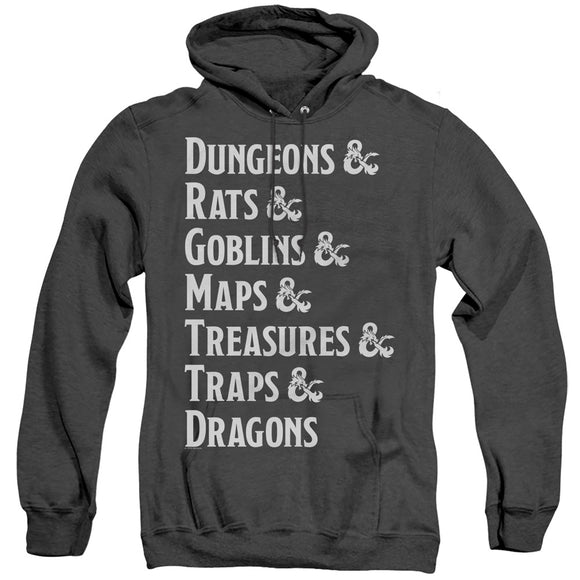MEN'S DUNGEONS AND DRAGONS DUNGEON LIST HEATHER PULLOVER HOODIE