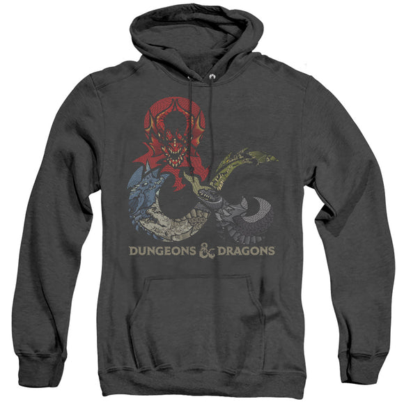 MEN'S DUNGEONS AND DRAGONS - DRAGONS IN DRAGONS HEATHER PULLOVER HOODIE