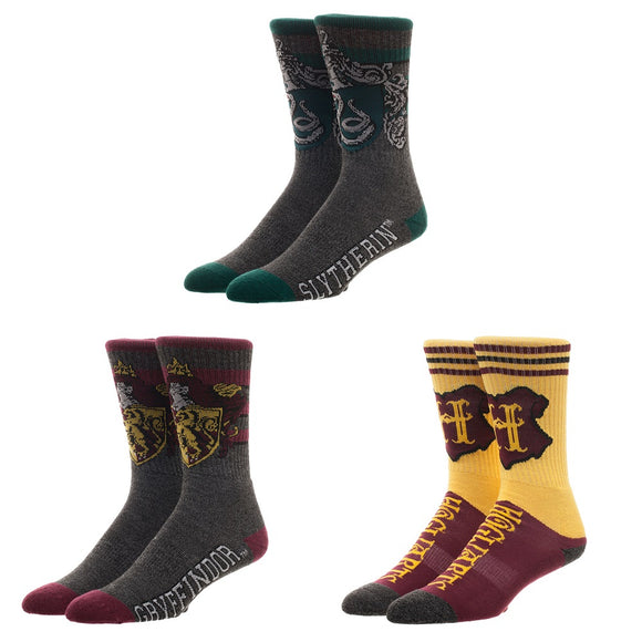 MEN'S HARRY POTTER HOGWARTS ATHLETIC CUSHION CREW SOCKS 3-PACK - Blue Culture Tees