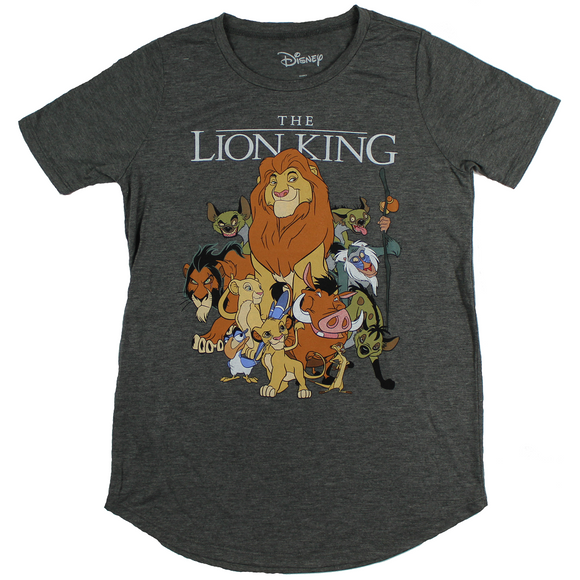 JUNIORS DISNEY THE LION KING CHARACTERS TEE - Blue Culture Tees