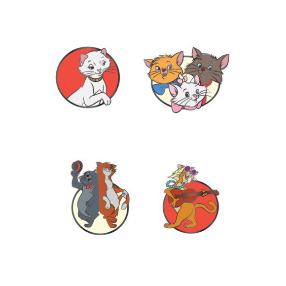 LOUNGEFLY DISNEY ARISTOCATS 4PC ENAMEL PIN SET - PREORDER
