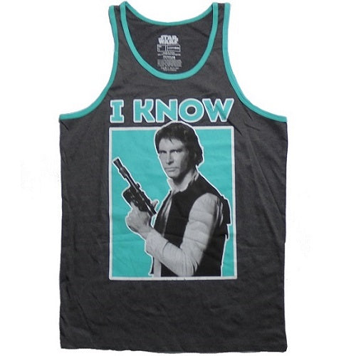 MEN'S STAR WARS HAN SOLO I KNOW RINGER TANK - Blue Culture Tees