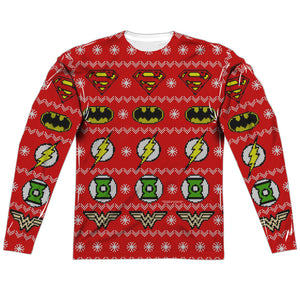 MEN'S JLA SWEATER OF JUSTICE SUBLIMATED LONG SLEEVE TEE