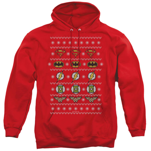 MEN'S JLA JUSTICE SHIELDS CHRISTMAS SWEATER PULLOVER HOODIE
