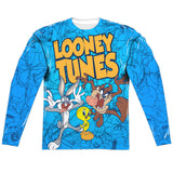 MEN'S LOONEY TUNES COLLAGE OF CHARACTERS SUBLIMATED LONG SLEEVE TEE