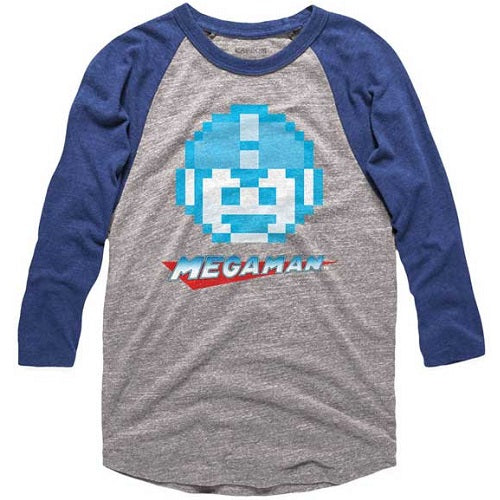 MEN'S MEGA MAN MEGAFACE RAGLAN TEE - Blue Culture Tees