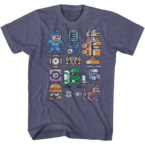 MEN'S MEGA MAN PIXELMANS LIGHTWEIGHT TEE - Blue Culture Tees