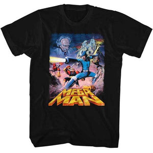 MEN'S MEGA MAN POSTERY MEGAMAN LIGHTWEIGHT TEE - Blue Culture Tees